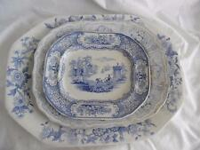 3 Antique Victorian blue & white meat platters