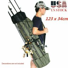 Fishing Rod Pole Reel Organizer Bag Lures Box Tackle Storage 5 Poles Adjustable
