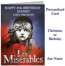 Personalised Les Miserables Show Ticket Wallet Card -Birthday Christmas etc mis