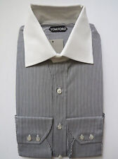 $670 TOM FORD Black Thin Striped Cotton Dress Shirt Size 15 3/4 US 40 Euro