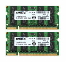 UK Crucial 4GB 2X 2GB Kits PC2-5300S DDR2 667Mhz Laptop Notebook Memory RAM @9H