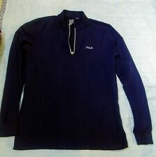 FILA 1/4 Zip Pullover Sweatershirt Size XL Navy Blue Men's Made in USA