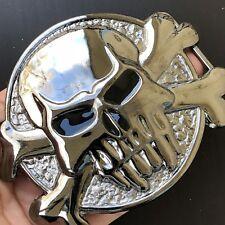 Skull Biker Belt Buckle Western Cowboy SILVER HIGH QUALITY