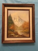 Mountain Pond Autumn Landscape Oil Painting Signed VERDI