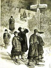 Canada WINTER SABBATH DAY CHURCH GOES on SNOWSHOES 1878 Antique Art Print Matted