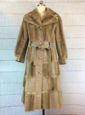 Lilli Ann London Leathers Long Coat Jacket Womens Small Faux Fur Belted Vtg 60s
