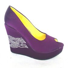 Ed Hardy Camden Sparkle Wedge Purple Peep Toe Shoes Heels Satin Rhinestone Party