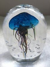 WV American Art Glass Hand Blown Jellyfish Paperweight 4 in X 3 in JELLY