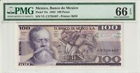PMG Certified Mexico 1982 100 Pesos Banknote UNC 66 EPQ Gem Pick 74c US Seller
