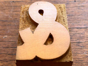 Antique letterpress wood type Printers Block Beautiful - and Ampersand &