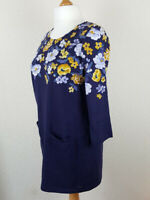 Womans Blue Tunic Shift Dress UK16 JOULES Yellow Flowers Pockets 3/4 Sleeve Boxy