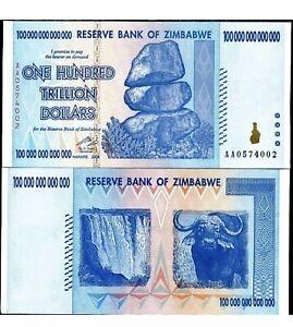 Zimbabwe 100 Trillion Dollars ( AA/2008, P-91, UNC, 1 piece
