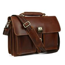 TIDING Mens Leather 15'' Laptop Business Messenger Shoulder Bag Handbag Satchel
