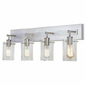 Hampton Bay Regan 29.13 in. 4-Light Bathroom Vanity Light with Clear Glass Shade