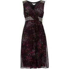 BNWT Monsoon Magnolia Plum Silk Embellished Evening Occasion Dress Size 12 NEW