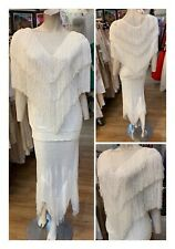 Vintage Brenda French For Cache Hand Loomed Tiered Fringe 2 Pc White S/M