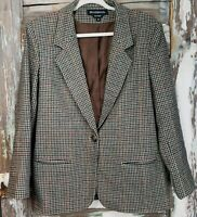 Braebrook 100% Wool Womens Size 10 Houndstooth Jacket One Button Vintage