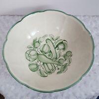 Garantito per Alimenti Vintage Serving Bowl Green White Hand Painted Vegetables