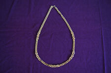 Trifari Tm goldtone long chain necklace beads flat links vintage costume Guc