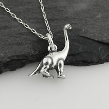 Tiny Sauropod Dinosaur Necklace - 925 Sterling Silver 3D Pendant Prehistoric NEW