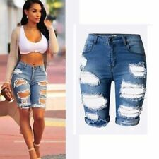 Women Shorts Casual Ladies High Waist Ripped Hole Washed Jeans Plus Size Denim
