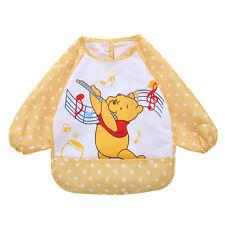 Kids Baby Bibs Long Sleeve Waterproof Toddler Feeding Craft Apron Bear Yellow