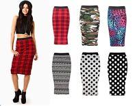 New Ladies Plus Size Print Elastic Waist Pencil Bodycon Stretch Midi Skirt 8-22