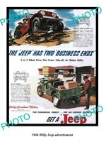 OLD LARGE HISTORIC PHOTO OF 1946 WILLYS JEEP ADVERTISMENT