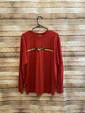 Nike Mens Vintage Long Sleeve Red Embroidered Tee TShirt Made in USA Large Flaw