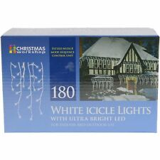 Christmas Workshop Bright White 180 LED Icicle Xmas Lights Indoor & Outdoor Use