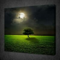 MOONRISE GREEN HILL TREE CANVAS PICTURE PRINT WALL ART FREE FAST DELIVERY