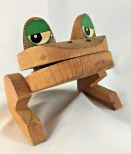 Frank Meisler Studio Mid Century Wood Frog Clip Signed