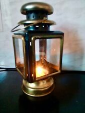 "Victorian Style Coach Lantern Candle Tea Light Holder, Metal, Brass, Glass, 8"" H"
