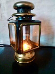 "Victorian Style Coach Lantern Candle Tea Light Holder, Metal, Brass, Glass, 8"" H"