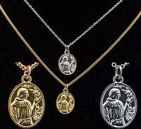 Silver or Gold Plated Men St Saint Francis Pendant Women Necklace Chain 5 Sizes