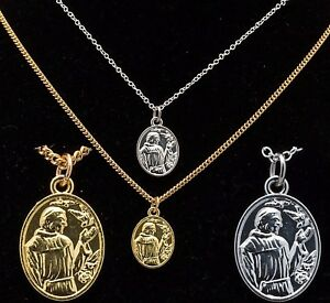"""16"""" to 24"""" Silver Gold Plated Men Women St Francis Pendant Unisex Necklace Chain"""