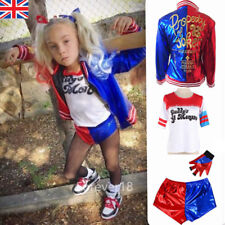 Halloween Girls Costume Suicide Squad Harley Quinn Kids Cosplay Fancy Dress Set