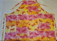 Full Chefs Apron with Pockets Dragonflies on Pink Yellow Orange Handmade