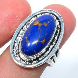 Copper Lapis Lazuli Gemstone 925 Sterling Silver Bali Ring s.8 T2761