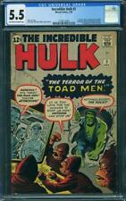 Incredible Hulk #2 CGC 5.5 Marvel 1962 1st Green Hulk! Avengers! M3 214 cm clean