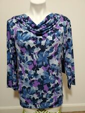 NWT $69 Jones New York Blue Purple Floral Print Cowl Neck 3/4 Sleeve Top Size L