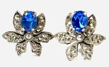 Vintage Silver Marcasite Sapphire Paste Clip On Earrings