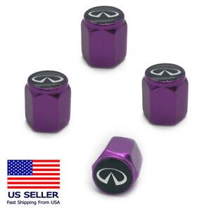 4PC Aluminum Alloy Wheel Tire Valve Air Cover Stem Caps For Infiniti Purple