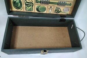Vintage 1960's GI Joe Authentic Wooden Footlocker Storage Box handles decals