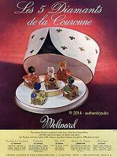 PUBLICITE MOLINARD PARFUM LES 5 DIAMANTS DE LA COURONNE DE 1950 FRENCH AD PUB