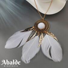 Collar Colgante Plumas Mujer Azúl Blanco Negro Perlas Estilo Boho Regalo ideal