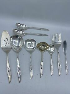 International Silver 1847 Rogers Bros MAGIC ROSE HUGE Hostess serving Set 9 PCS