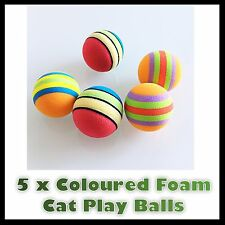 5 SMALL COLOURED ACTIVITY SET CAT KITTEN PET MICE TOY MOUSE BALLS PLAY FOAM SOFT