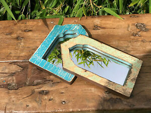 Pair Small Vintage Antique Indian Arched Mughal Temple Mirrors Blue Green 4