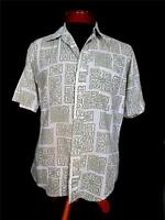 VINTAGE 1960'S COTTON POLY  GREEN AND WHITE  PRINT SHIRT SIZE MEDIUM